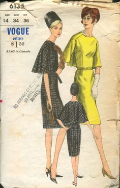 Vogue 6135; 1960s; One Piece Dress. Fitted dress has bias raglan sleeves joined to front of...