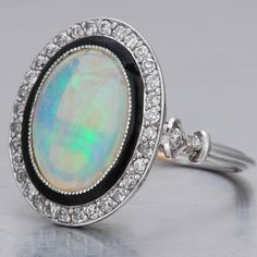 Art Deco Opal Ring Old Mine-cut Diamonds Antique Rings, Vintage Rings, Antique Jewelry, Vintage Jewelry, Opal Jewelry, Jewelry Box, Jewelry Accessories, Jewelry Design, Opal Gemstone