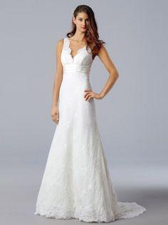 NO.02545042012 style aline vneck lace sleeveless sweep brush train lace wedding dresses brides