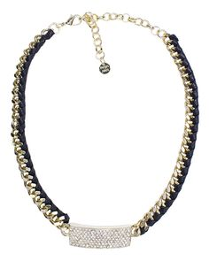 CHAIN+LEATHER WRAP WITH PAVE BAR NECKLACE - ZN7026-GOLD BLACK