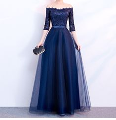 long prom dresses - Elegant Navy Blue Evening Dress Strapless Half Sleeves Pleats Tulle Lace Top Prom Dresses Lace Up Zipper Back Plus Size Evening Dresses Fashion Dresses Formal Dresses For Women From Lpdqlstudio, &Price; DHgate Com Evening Dresses Plus Size, Formal Dresses For Women, Elegant Dresses, Evening Gowns, Prom Dress Shopping, Ball Dresses, Dresses Dresses, Bride Dresses, Long Dresses