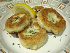 Feta Tiganites (potato-feta pancakes with mint and lemon, essentially)