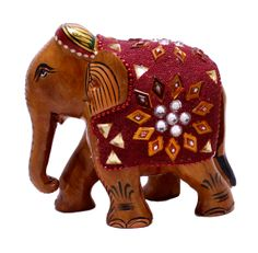 """(sku no: wooden elephant statue_509)Hand Carved Wooden Sequine & Mirror Work Indian Rajasthan Traditional Elephant Statue.Size: 4"""" x 4.5"""" inches."""