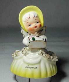 Vintage 1956 Napco Ceramic August Angel Bell Spaghetti Trim