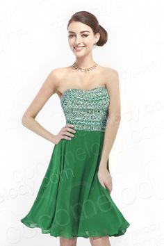 Sparkle A-Line Strapless Natural Knee Length Chiffon Hunter Green Sleeveless Zipper Homecoming Dress with Crystals COZK14027