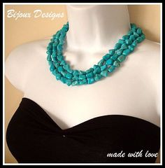 Turquoise Necklace Three strands chunky by BijouxDesignsStudio, $48.00