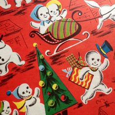 Snowman Families Christmas Vintage Wrapping Paper