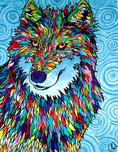 Wolfadellic Print copic marker wolf in neon by PaintMyWorldRainbow, $15.00