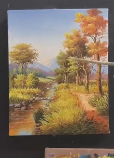 Canvas Painting Tutorials, Diy Canvas Art, Painting Videos, Oil Painting For Beginners, Painting Lessons, Oil Painting Trees, Oil Paintings For Sale, Painting For Sale, Oil Painting Easy
