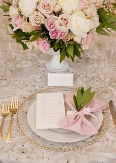 pink and gold~bridal brunch Flower Centerpieces, Wedding Centerpieces, Flower Arrangements, Centrepieces, Gold Wedding, Wedding Flowers, Dream Wedding, Table Setting Inspiration, Wedding Place Settings