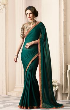 Sarees Online: Buy Green Satin Designer Embroide Saree At Best Price On Variation. Huge Collection Of Designer Sarees, Party Wear Sarees, Wedding Sarees And Printed Sarees For Women. Shipping Worldwide Including India, Usa, Uk And Canada. Lehenga Style Saree, Saree Look, Saree Dress, Satin Saree, Chiffon Saree, Silk Sarees, Georgette Sarees, Indian Sarees, Fancy Sarees
