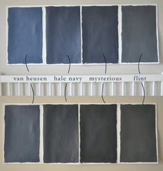 Benjamin Moore blues (top = in sunlight; bottom = darkened room)