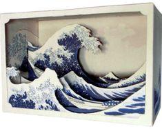 DIY Paper diorama hokusai - The Great Wave off Kanagawa - paper craft - paper art - japanese art Shadow Box Kunst, Shadow Box Art, Kirigami, Hokusai Wave, Katsushika Hokusai, Ocean Diorama, Minecraft Decoration, Diy Paper, Paper Crafts
