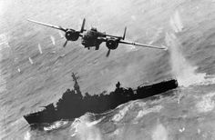 A North American B-25 makes a bomb run on a Japanese destroyer escort off Formosa in April of 1945. (USAF)