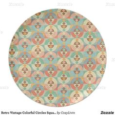 Retro Vintage Colorful Circles Squares Pattern Dinner Plate