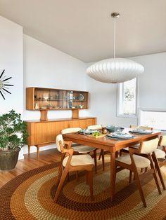 Dining Room — Post and Beam Living Teak Furniture, Mid Century Furniture, Teak Dining Chairs, Dining Room, Red Oak Floors, Nelson Bubble Lamp, Teak Sideboard, Oak Hardwood Flooring, Overhead Lighting