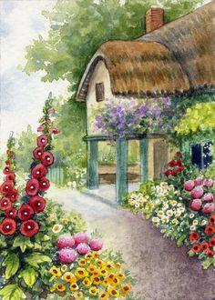 ACEO Original Miniature Watercolor Painting Garden by Elena Mezhibovsky