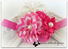 Pink Chervon and silk Flower Headband by tutticutesytutus on Etsy