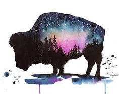 Bison watercolor art