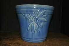 Mccoy Large Blue Flower Pot  Planter HTF Shape  | eBay Blue Pottery, Mccoy Pottery, Vintage Pottery, Flower Planters, Flower Pots, Planter Pots, White Strawberry, Bean Pot, Vintage Planters