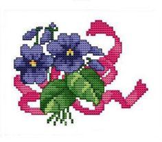 Kanaviçe Etamin Örnekleri /mor menekşe desenli kaneviçe örneği