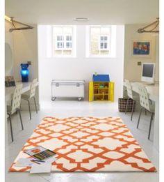 Flat Weave Trellis Design Orange White Rug