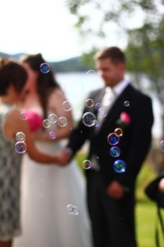 Our wedding. Soapbubbles outside the church.