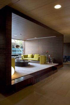 Warm and enticing pod room within a larger space