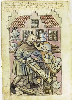 Illustration of an Armourer, Hans Pernecker - From the House Books of the Nuremberg Twelve Brothers Foundation, records of a charitable foundation started in the city of Nuremberg in 1388. The foundation would take 12 poor and needy people and provide them with training in a trade. Starting around 1425 their books would contain one-page illustration of the people they had helped, usually giving their name and what profession they were in. - Nuremburg, Germany - c. 1425-1450