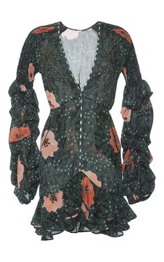 Silk Tristan Dress With Ruched Sleeves by JOHANNA ORTIZ Now Available on Moda Operandi