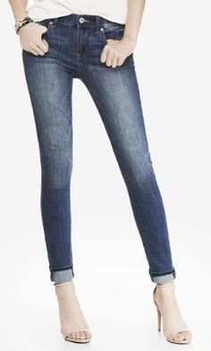 medium wash mid rise jean legging from EXPRESS