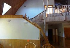 natural wood, wood stairs, natural wood rails, nature light, wood column, wood wall,  triangle window,  skylights, wall light fixtures, wood ceiling, Upper level geodesic dome house, house for sale, 9121 CR 23 Brainerd MN 56401 Triangle Window, Geodesic Dome Homes, Wall Light Fixtures, Dome House, Wood Stairs, Safe Haven, Skylights, Wood Ceilings, Ceiling Tiles