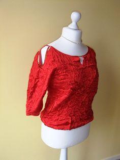 Nuno feutrée blouse  laine et soie rouge  fait a la par Tutenafelt, €40,00
