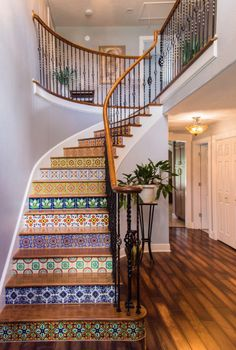 Another set of colorful mosaiced staircase