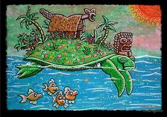 A seafaring turtle and school of friendly fish are helping their new Tiki friend find a new island to call home.  This was a painting I had done with acrylics on canvas. Available as Posters, Prints, Cards, and Laptop Skins