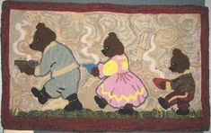 The Three Bears hooked rug - http://totally-hooked.blogspot.com/2010/05/fiber-art-from-st-henri-rug-hookers.html
