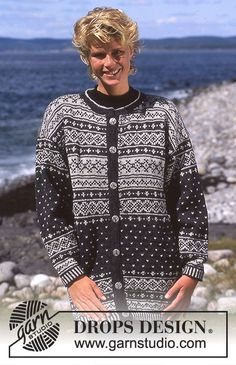 """DROPS jacket with pattern borders in """"Karisma"""".   Free pattern by DROPS Design."""