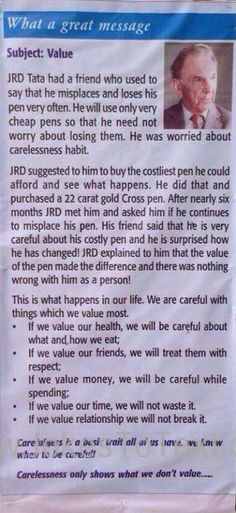 A beautiful exampleof JRD Tata provingthe relation between Value and Carelessness. A good message too
