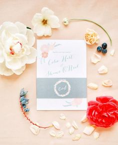 Floral Wedding Invitation Photo by Sweet Tea Photography