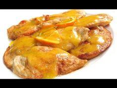 Filetes de pollo con salsa de naranja.