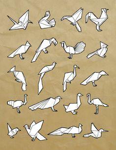 Hand-Drawn Origami Birds Set - GraphicRiver Item for Sale