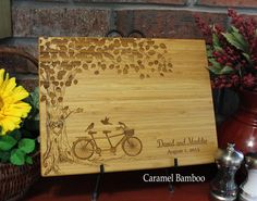 Personalized Cutting Board 9x12 Tandem Bike by EngrainedMemories