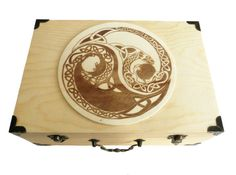 Handmade wood burned large keepsake / Jewelry box with hinged lid, Brass accents / Celtic Dragon Ying Yang