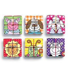 """Tiny Tillia 6-in-1 Block Puzzle- great early learning tool! These four plush 3"""" blocks come together to create six different images. That's six toddler-friendly puzzles in one! Polyester. Imported. Shop online at tashina.avonrepresentative.com"""