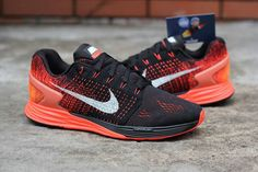 3f00b1794e2 Nike Flyknit Lunarglide 7 Hot Lava Black Silver Total Orange New Nike  Shoes