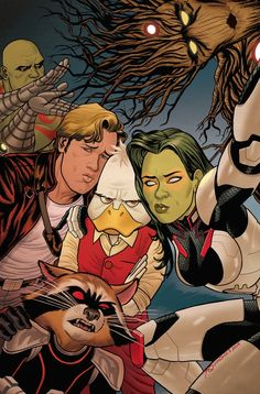 joequinones:  Hey gang! Here's a look at my cover to issue 2 of Howard the Duck, featuring the Guardians of the Galaxy — making 'duck faces'. Have a great weekend. WAUGH!