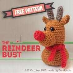 A fun and easy winter amigurumi pattern of a Reindeer Bust. Enjoy!! Dendennis