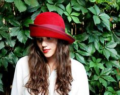 Women red felt hat / Millinery- handmade hand draped red felt cloche hat wide brim