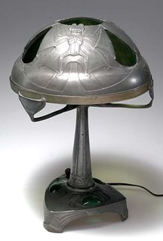 German Art Nouveau electric bat lamp, attributed to Friedrich Adler, c. 1902, pewter, glass and Bakelite, 41 cm.