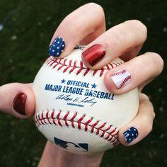 baseball nails Baseball Nail Designs, Baseball Nail Art, Softball Nails, Baseball Toes, Baseball Cap, Pedicure Designs, Cool Nail Designs, Pedicure Ideas, Jamberry Nails